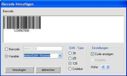 Barcode hinzufügen