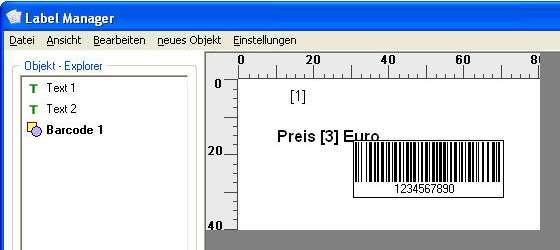Barcode auf dem Etikett platzieren.