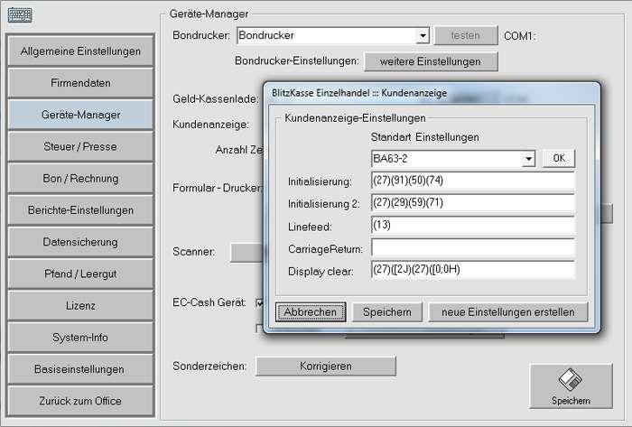 Einstellung des Kundendisplays /Kundenanzeige in der Blitz!Kasse Software