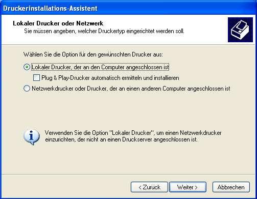 Einstellung des Bondruckers im Windows XP -006