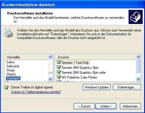 Einstellung des Bondruckers im Windows XP -007