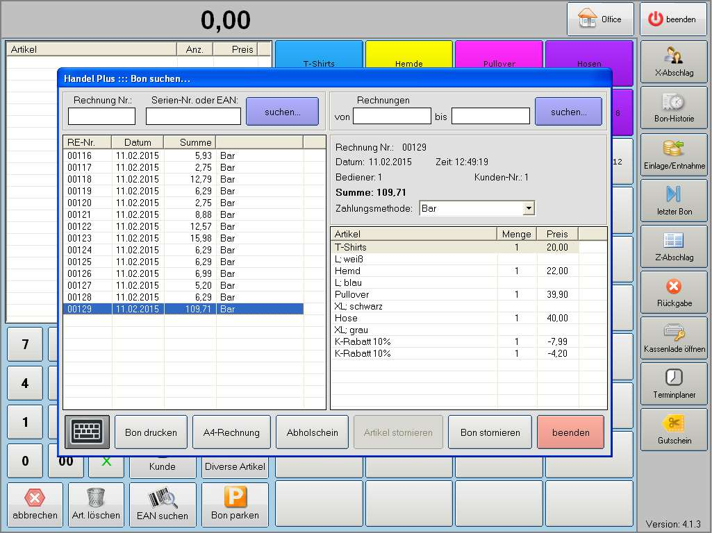 "Handel Plus 4.1 Software: Modus ""Storno"""
