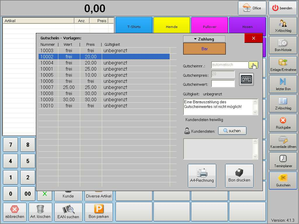 Handel Plus 4.1 Software: Modus