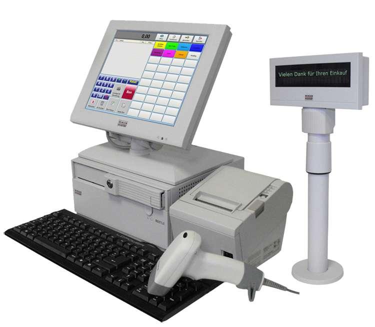Touchscreen Kasse für den Einzelhandel inkl. Kundendisplay, Barcodescanner, Geldschublade - 001