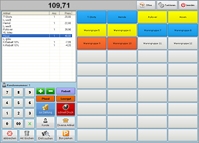 "Screenshot von der POSprom Handel Plus 4.1 Software: Modus ""Kasse"""