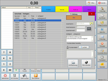 "Handel Plus 4.1 Software: Modus ""Gutscheine"""
