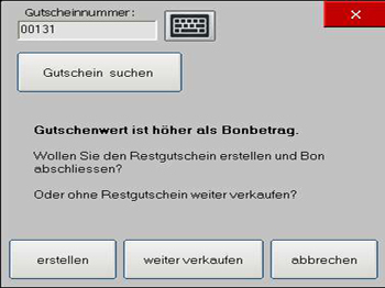 """Handel Plus 4.1 Software: Modus """"Restgutscheine"""""""