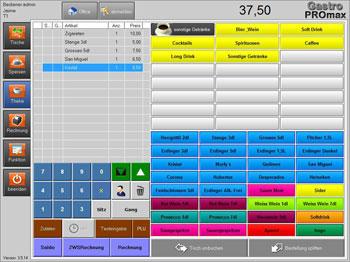 Programm-Oberfläche, Aufnahme von Bestellungen